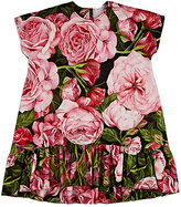 Dolce & Gabbana Rose-Print Cotton Jersey Drop-Waist Dress