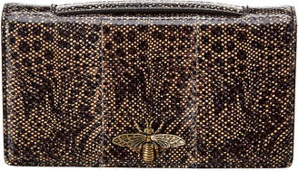 Christian Dior Bee Snakeskin-Embossed Leather Clutch