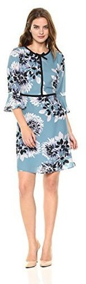 Lark & Ro Amazon Brand Women's Three Quarter Sleeve Contrast Band Dress