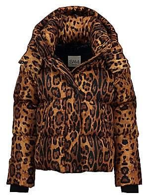 SAM. Women's Elsa Leopard-Print Down Puffer Jacket