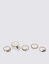 M&S Collection 5 Pack Diamanté Rings
