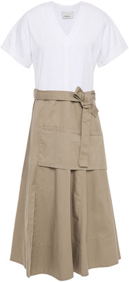 3.1 Phillip Lim Belted Paneled Jersey And Twill Midi Dress