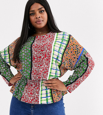Glamorous Curve blouse with shirred waist in retro patchwork-Multi