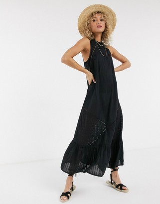 ASOS DESIGN lace insert trapeze maxi dress with pephem in black