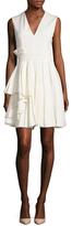 Alexander McQueen Wool V-Neck Pleated Dress