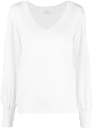 Malo bishop-sleeve V-neck knitted top