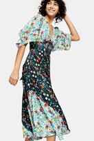 IDOL Mixed Print Midi Dress