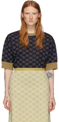 Gucci Navy and Gold Lurex GG Sweater