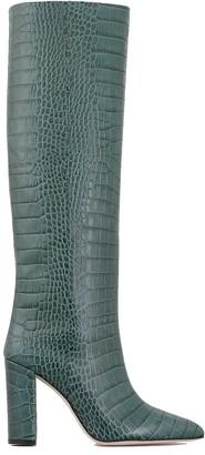 Paris Texas Crocodile Print Leather Knee-high Lenght Boots
