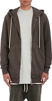 Rick Owens Men's Extra-Long Zip Hoodie-GREY