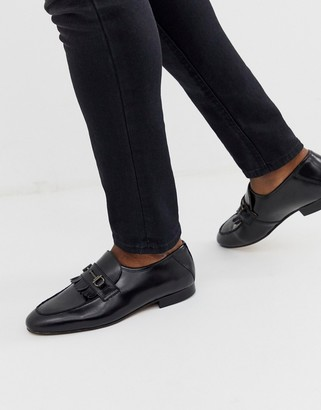 H By Hudson Chichister bar loafers in black leather