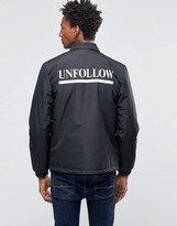 Wood Wood Kael Coach Jacket Unfollow Back Print Padded