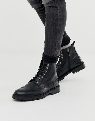 Selected lace up brogue boots in black