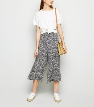 New Look Petite Floral Crop Wide Leg Trousers