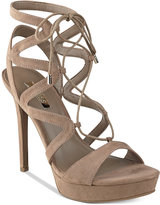 GUESS Women's Aurela Strappy Lace-Up Platform Dress Sandals