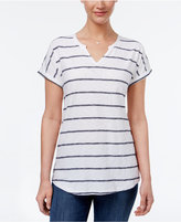 Style&Co. Style & Co Petite Striped Split-Neck Top, Created for Macy's