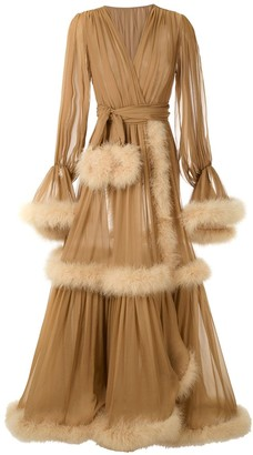 Dolce & Gabbana Feather Trimmed Wrap Long Dress