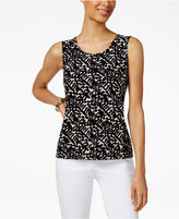 JM Collection Petite Printed Jacquard Shell, Only at Macy's