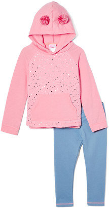 Nannette Kids Girls' Leggings PINK - Pink Heart Quilted Fleece French Terry Hoodie & Blue Leggings - Girls