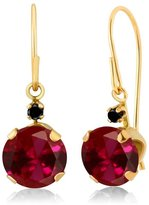Gem Stone King 2.03 Ct Round Red Created Ruby Black Diamond 14K Yellow Gold Earrings