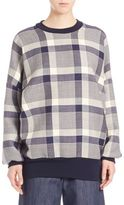 ADAM by Adam Lippes Windowpane Check Roundneck Pullover