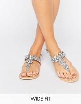 Asos FAIRYTALE Wide Fit Leather Embellished Flat Sandals