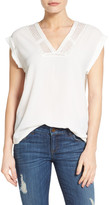 Halogen Lace Inset V-Neck Top (Regular & Petite)