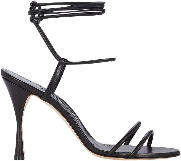 Manolo Blahnik Cochisa 105 Leather Wrap Sandals