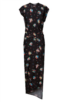 Paco Rabanne Fitted Floral Grunge Dress