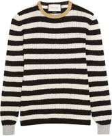Gucci Metallic-trimmed Striped Cashmere And Wool-blend Sweater - White