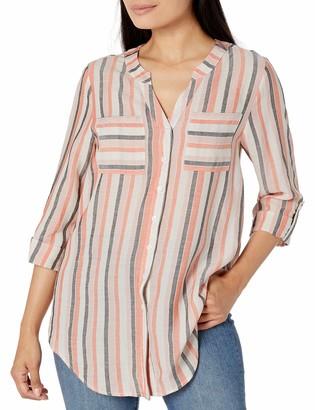 Amy Byer Women's Tab-Sleeve Button Down Shirt