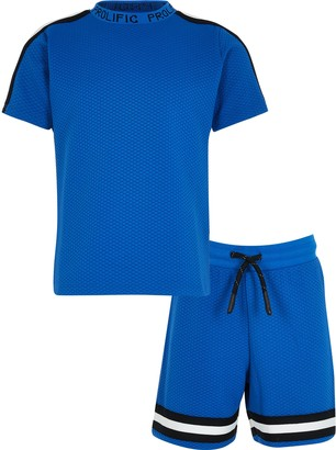 River Island Blue texture tape t-shirt outfit