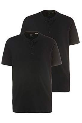 JP 1880 Men's Big & Tall 2 Pack Slim Fit Cotton Henley Tees 708420 10-4XL