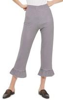 Topshop Women's Gingham Ruffle Capri Trousers