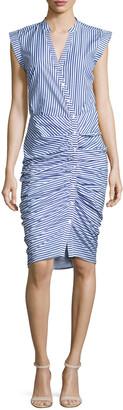 Veronica Beard Sleeveless Ruched Striped Shirtdress, Blue/White