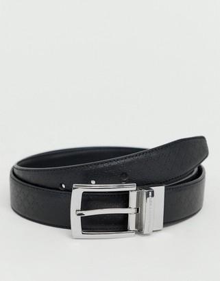 French Connection diamond embossed reversible belt-Black