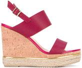 Hogan wedged sandals - women - Cork/Leather/Straw/rubber - 38