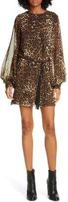 Nili Lotan Rebeca Leopard Print Silk Long Sleeve Minidress