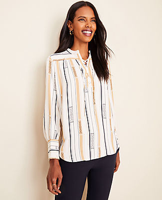 Ann Taylor Petite Striped Lace Up Popover