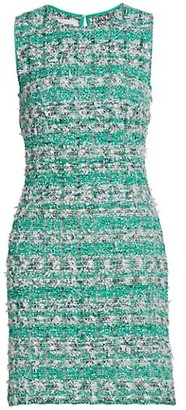 St. John Vivid Fringe Tweed Mini Dress