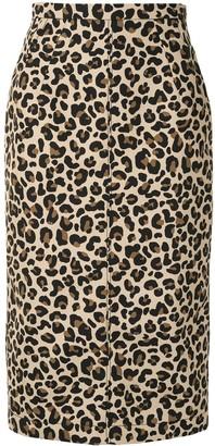 No.21 Leopard-Print Pencil Skirt