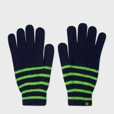 Paul Smith Men's Neon Green Stripe Lambswool Gloves
