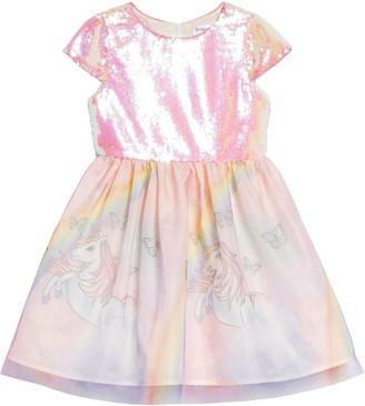 Little Angels Unicorn Sequin Fit & Flare Dress