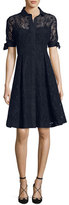 Rickie Freeman For Teri Jon Short-Sleeve Medallion Eyelet Dress, Navy