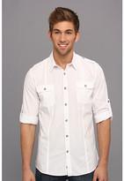 DKNY L/S Solid Roll Tab Shirt-Casual Press