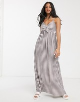 Asos Design DESIGN cami bow front maxi sundress in plum and white stripe