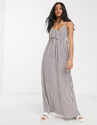 ASOS DESIGN cami bow front maxi sundress in plum and white stripe
