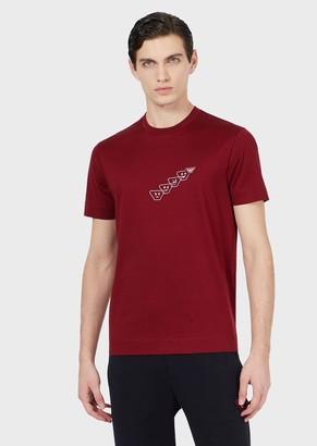 Emporio Armani Printed Jersey T-Shirt With Emoji Patch