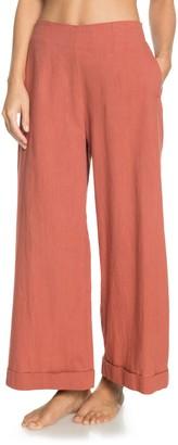 Roxy Senorita Smile Flare Cotton & Linen Pants