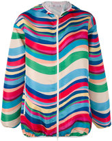 RED Valentino striped hooded jacket - women - Polyester/Acetate - 40